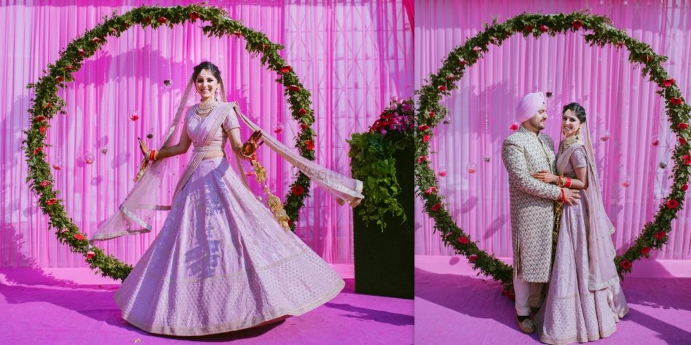 A Pastel Hued Delhi Wedding With A Bride In Self Designed Outfits