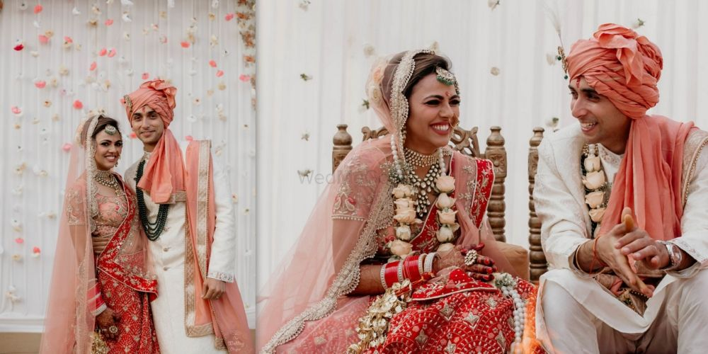 A Pretty Delhi Wedding In Peachy Tones With The Couple In Coordinated Outfits
