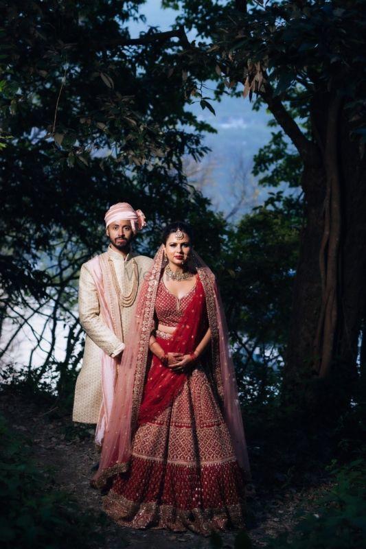 Beautiful Lakeside Wedding With A Traditional Red Bridal Lehenga